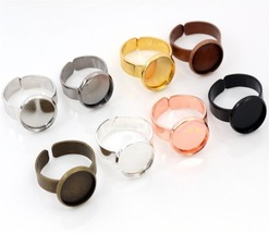12mm 10pcs/Lot Classic 8 Colors Plated Brass Adjustable Ring Settings - $18.07+