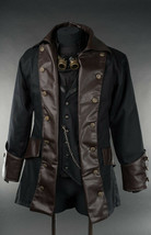 Men's Black Brown Vegan Leather Steampunk Pirate Jacket Victorian Goth Coat - $100.18