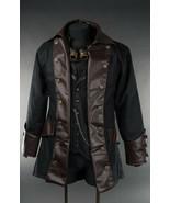 Men's Black Brown Vegan Leather Steampunk Pirate Jacket Victorian Goth Coat - $100.18