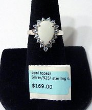 Opal and Topaz Ring 925 Sterling Silver Stamped Pear Shape Birthstone Si... - $30.00