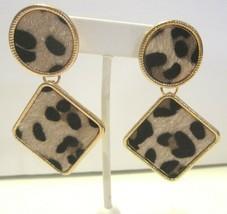 APT. 9 Faux Leopard Skin Pierced Earrings in Gold Tone Setting and Gift Box - $12.86