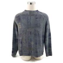 Express Urban Hip Hop Grunge L/S Blue/Khaki 100% Cotton Sweater Pullover... - $17.77