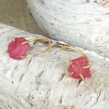 Raw Ruby Earrings 14k Gold Filled Claw July Birthstone Bohemian Pink Sap... - $134.99