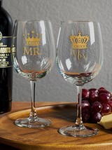 Royalty Mr and Mrs Wine Glass Set, Two 12 Ounce Wine Goblets, Wedding Gi... - $33.02