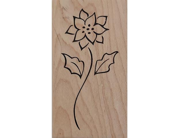 Denami Design 2009 Flower Wood Mounted Rubber Stamp