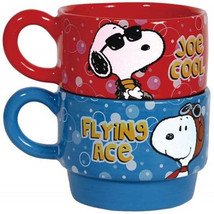 Peanuts Be Who You Want Red and Blue Stackable 6 oz Ceramic Coffee Mugs ... - $28.01