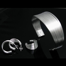 925 sterling silver plated JEWELRY SETS bangles/rings/earrings for women - $18.99