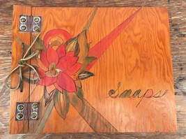 Vintage Hand Made Wood Scrapbook Photo Album Carved Painted Folk Art Lea... - $40.63