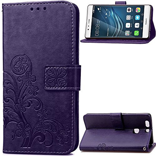 Huawei P9 Plus Case Wallet, GANGXUN Purple Flip Case with Card Slots Clover Patt