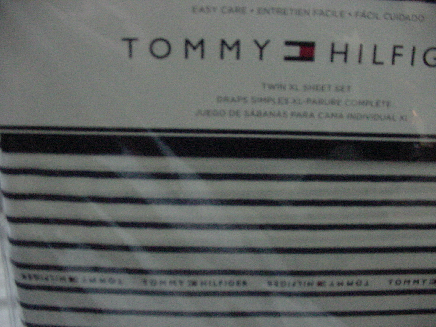 Tommy Hilfiger Navy Stripe on White Sheet Set Twin XL