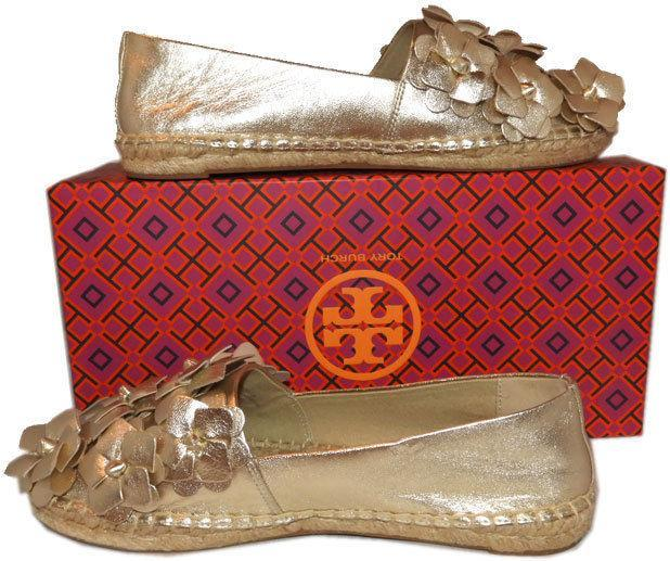 Tory Burch Blossom Gold Leather Platform Espadrilles Floral Flats Shoes 7.5