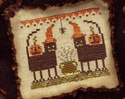 Party Cats A Year in Halloween II cross stitch chart charm Homespun Elegance