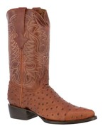 Mens Cognac Cowboy Boots Leather Print Ostrich Quill Rodeo J Toe - $99.99