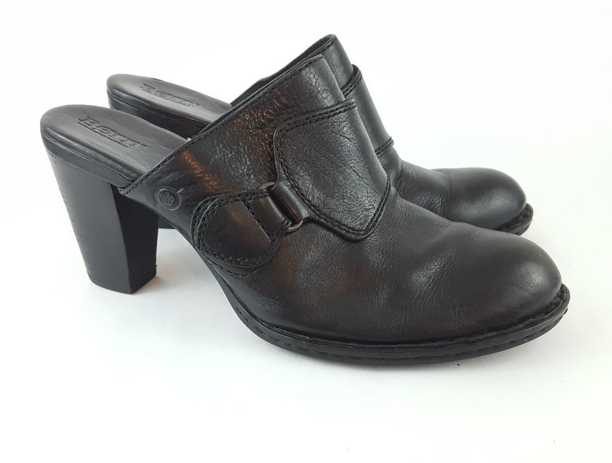 Born Handcrafted Mules Black Leather Pumps 10