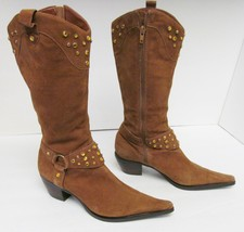 Steven Steve Western Cowboy Boots Suede Leather Fashion Brown Women's Si... - $34.95