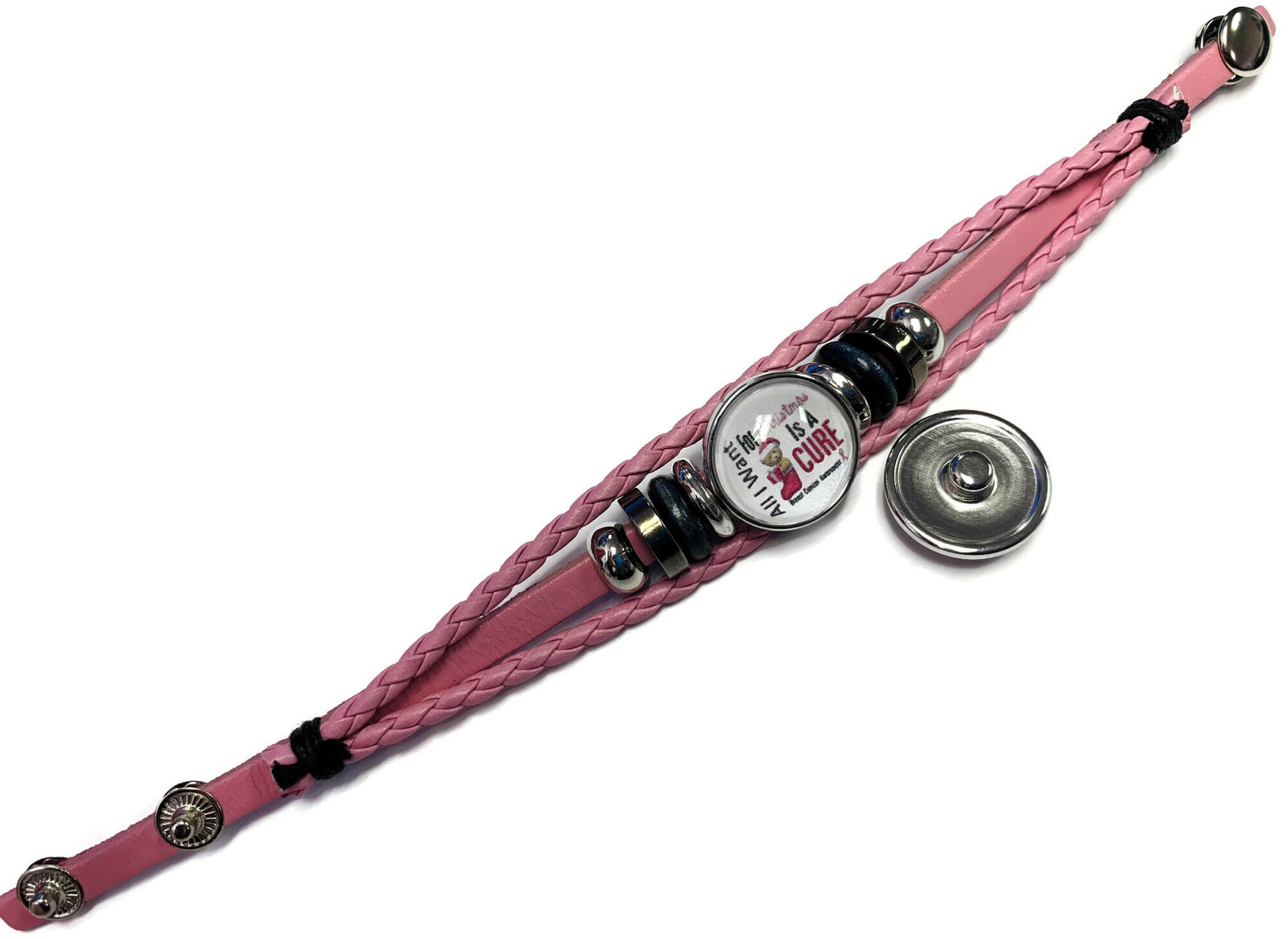 Breast Cancer Ribbon Christmas Cure Pink Leather Bracelet W/2 Snap Jewelry Charm