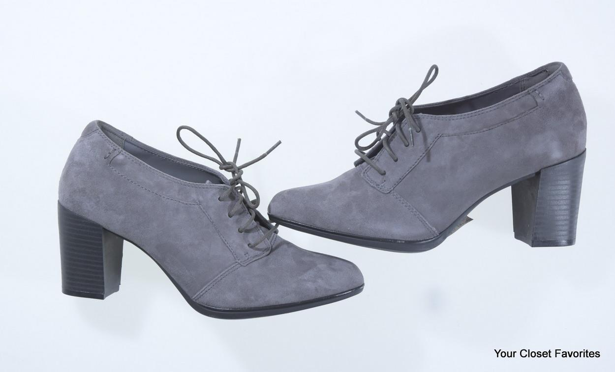Clarks Araya Hale Ankle Bootie sizes 8 11 Grey Suede Leather High Heel Shoes