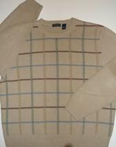 Saddlebred Knit Sweater ~TAN~Grid Pattern~Men's XL~100% Cotton-EUC~FREE ... - $18.39