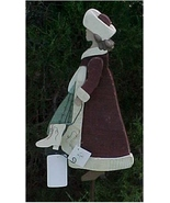 Yard Stake, Distressed Wood, Victorian Christmas Girl Going Ice Skating - $25.00