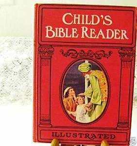 Vintage 1951 Child's Bible Reader by Charlotte Yonge -color plates+ freebies