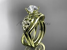 Bridal ring set, 14kt yellow gold celtic trinity knot engagement set CT770S - $1,050.00