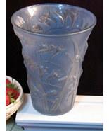 Vintage Phoenix Glass Freesia Blue Vase Original Label American Art Glass  - $224.99