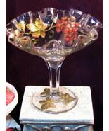 Antique Goofus Glass Grape and Leaf Pattern Large Stemmed Candy Fruit Co... - $74.99