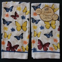 BUTTERFLIES KITCHEN TOWELS Set of 2 Yellow Blue Butterfly Flowers Spring... - $7.99