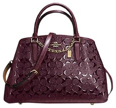 Coach F55451 Small Margot Carryall In Signature Debossed Leather Oxblood... - $178.81