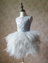 Gray Flower Girl Dress Gray Tulle/Lace Knee-Length Girl's Princess Dress NWT image 3
