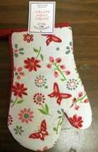 "1 Printed Oven Mitt (10"") Flowers & Butterflies, With Red Back By Am - $7.91"