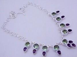 Green Amethyst - Amethyst  Silver Overlay Handmade Necklace JH-28-10/116 - $12.77