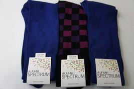 Alfani Spectrum Mens Socks Sz 7 - 12 Cobalt Blue Black Purple 3 Pairs Socks - $14.27