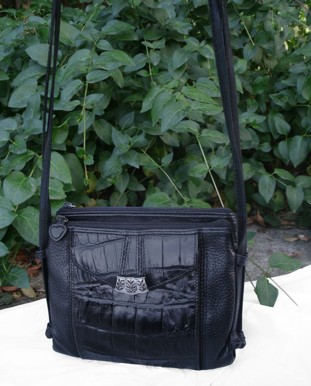 Brighton Croc and Pebbled Leather Cross Body Organizer Bag Black Silver Wallet image 2
