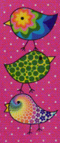 Pink Flirty Birds Needle Slide cross stitch accessory Just Nan