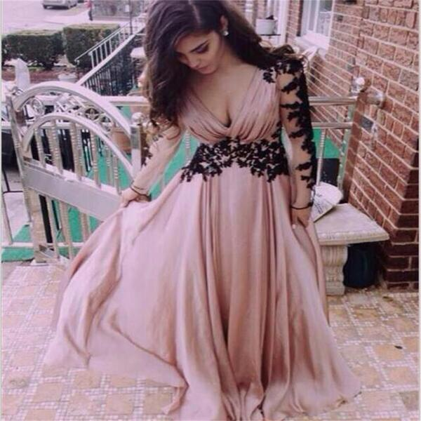 Dusty pink long v neck long sleeve chiffon popular custom prom dresses online pd0112