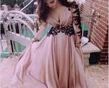 Sty pink long v neck long sleeve chiffon popular custom prom dresses online pd0112 thumb155 crop