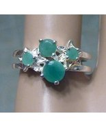 Emerald Ring 925 Sterling Silver Stamped Birthstone Floral Womens Size 7.75 - $29.99