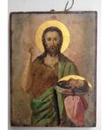 Antique Orthodox Greek Saint John Prodromos Icon Early 20th Century  - $448.45
