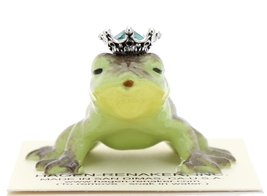 Hagen-Renaker Miniature Frog Prince Kissing Birthstone 05 May Emerald image 1