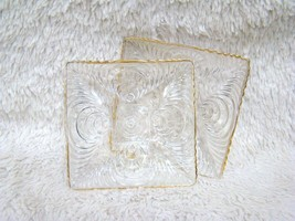 Gold Trimmed Caprice-Styled Design Clear Glass Square Candy Dishes, Deco... - $13.85