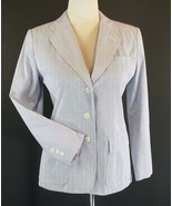 TALBOTS Size 4 Petite 4P Classic Blue Fine-Striped Jacket MINT - $9.99