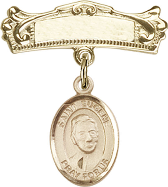 Primary image for 14K Gold Filled Baby Badge with St. Eugene de Mazenod Charm Pin 7/8 X 3/4 inch