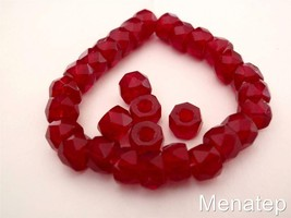 25 6 x 4mm Czech Glass Facetted Crow Beads: Ruby - $2.13