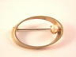 Gold Tone Oval Pin with Possible Pearl Vintage Jewelry - $13.49