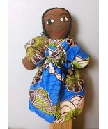 "Hand Made Black Cloth Doll Kenya with Tag Namyalo  15"" Blue Dress - $34.40"