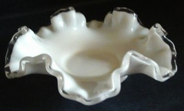 Vintage Fenton Silver Crest Milk Glass Candy Dish // Nut Dish // Home Decor - $8.50