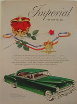 1952 Chrysler IMPERIAL Green with White Sidewalls CROWN & Jewels Print Ad - $9.99