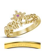 14k Yellow Gold Filled Purple Amethyst Disney Princess Rapunzel Crown Ring - $50.33
