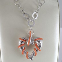 925 STERLING SILVER NECKLACE, CARNELIAN FINELY WORKED BIG HEART PENDANT, ITALY image 2